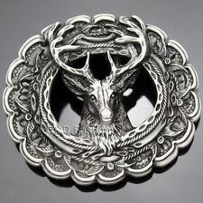 Antique Silver 3D Deer Elk Antler Stag Buck Head Leaf Hunt Western Belt Buckle