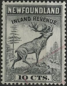 Canada VanDam #NFR47 10c black perf 13.25 Nfld. Inland Revenue Stamp used  (1966