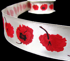 "3 Yds Poppy Flowers Poppies Satin Ribbon 1 1/2""W Red Orange Yellow"