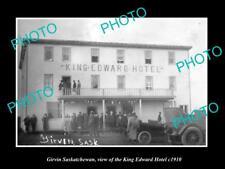 OLD LARGE HISTORIC PHOTO OF GIRVIN SASKATCHEWAN, THE KING EDWARD HOTEL c1910