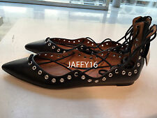 ZARA NEW WOMAN LEATHER LACE-UP BALLERINA SHOES BLACK BLOGGERS FAVORITE 36-41