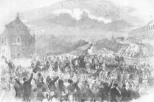 SPAIN. Public entry of Espartero into Madrid, antique print, 1854