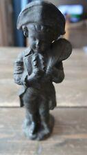 "Antique Colonial Fiddler Boy Metal Statue Figure 7.5"""