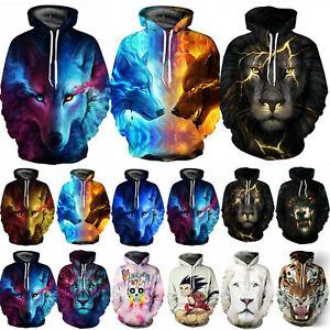 Unisex Hooded Hoodie 3D Wolf Lion Sweatshirt Warm Casual Jacket Coat Jumper Tops