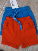 M&S Baby 3/6 months 2 pair set Cotton Shorts Red & Blue  BNWT