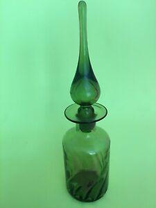 """MCM Empoli Italy Green Art Glass Decanter Bottle w/Stopper 12"""""""