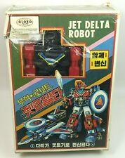 Vintage 1980s JET DELTA ROBOT, Globo Transformers KO figure airplane boxed