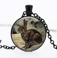 Brown Rabbit German Black Glass Cabochon Necklace chain Pendant Wholesale