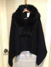 100% Lamb Pologeorgis Black Size OS Shawl Wrap w/Full Skin Toscana Trim $525