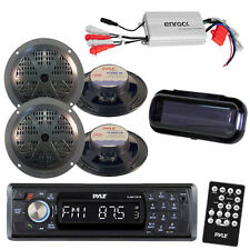 Pyle Marine AM/FM Radio Stereo System & Bluetooth & Cover + 400W Amp 4 Speakers