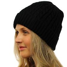 Ladies Thick Fleece Fur Lined Thick Warm Cable Knit Beanie Ski Hat Cap Black