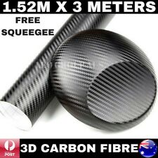1.52M X 3M 3D BLACK CARBON FIBRE FIBER VINYL CAR WRAP FILM STICKER AIR BUBBLE FR