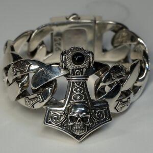 Thors Mjolnir Hammer Link Bracelet Biker Gothic Viking Norse Pagan feeanddave