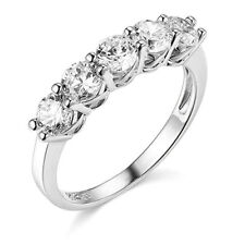 2.50 Ct Round Cut Real 14k White Gold 5-Stone Wedding Anniversary Band Ring
