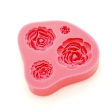 Moule silicone 3D fleur rose pour pâte à sucre, cake design, décoration