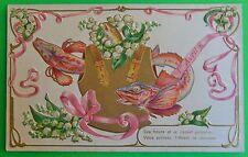 3 Fish Swim Thru Armour Vest-Antique Vintage April Fools Day-1er Avril Postcard