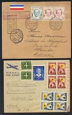 NETHERLANDS 1940's 50's COLLECTION OF FIVE AIR MAIL COVERS MULTIFRANKED TO US
