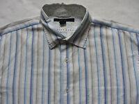 Express Men's Classic Fit L/S Button Down Shirt - White & Blue Striped - Size XL
