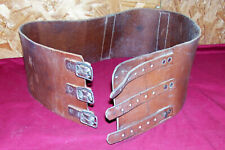 """Old Motorcycle Wide Tan Leather Kidney Belt Waist Size 43"""" - 47"""" Vintage Riders"""