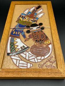 """Jennifer Roche 2 Handmade Indian Tile Art w/Wooden Frame, 6"""" x 6"""" (Each Tile)"""