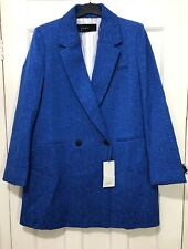 Zara Blue Textured Weave Double Breasted Coat Blazer Size XS