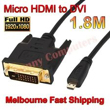 Gold Plated Micro HDMI Male to DVI 24+1 Pin M/M Cable Full HD 1080p AV HDTV 1.8M