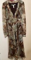 Diane von Furstenberg 8 XS Silk Dress Brown Green Lined Sheer