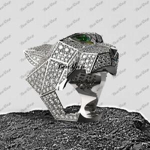 2.50 Ct Green Emerald Diamond Statement Panther Head Ring 14K White Gold Finish