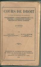 POUR COLLECTIONNEUR COURS DE DROIT A L'USAGE DES CANDIDATS AUX GRADES PTT 1942