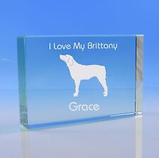 More details for brittany dog lover gift personalised hand engraved paperweight gift