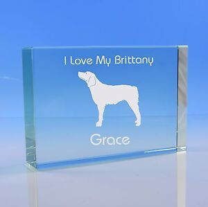 Brittany Dog Lover Gift Personalised Hand Engraved Paperweight Gift