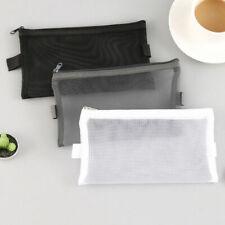 Clear Mesh Portable Large Pen Pencil Case Makeup Cosmetic Storage Bag Pouch Case