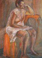 Vintage large European gouache painting portrait