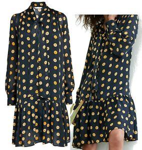 NEXT Womens Navy Gold Spot Tie Neck Tiered Dress + Cami 8 10 12 14 16 18 20 22