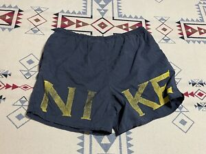 Rare Vintage NIKE Spell Out Swoosh Nylon Swimming Trunks 90s Black Yellow L C9