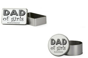 Fathers Day themed Dad Of Girls #Outnumbered Gift For Dad Metal Tin Storage Box.