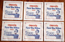NOS 6 ORIGINAL PABST BLUE RIBBON BEER NAPKINS Unused 1970s 70s Bartender 5x5