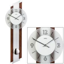 AMS 7207/1 orologio da parete quarzo  pendolo argentato legno colore legno do no