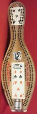 BOWLING PIN ~ CRIBBAGE BOARD ~ With 5 METAL PEGS