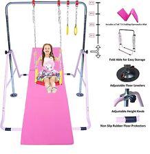 Jungle Kids Monkey Horizontal Kip Bar Pink + 6' Gymnastic Mat + Swing & Trapeze