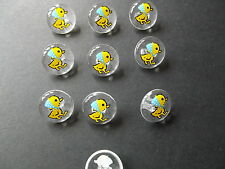 10 x CLEAR with YELLOW DUCK MOTIF BUTTONS ~ Size 24L (15MM) BABIES/CRAFT