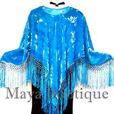 Silk Burnout Velvet Poncho Top Piano Shawl Light Turquoise Maya Poncho
