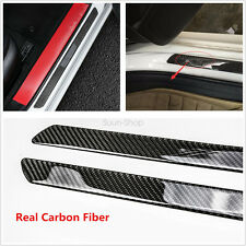 Waterproof 2pc Door Sill Carbon Fiber Car Scuff Plate Cover Panel Step Protector