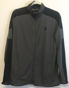 Under Armour Men Athletic Fitted Lightweight Zip Up Jacket Sz M Gray Black NEW