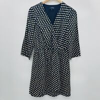 The Limited Womens Size Small Geometric Print Faux Wrap Dress 3/4 Sleeve Black