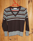 Petit pull col V marron avec rayures marque Cache-cache taille 2