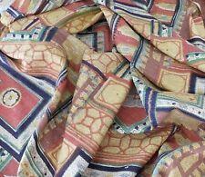 Fabric remnant retro medium weight geometric browns decorating W112x50cm