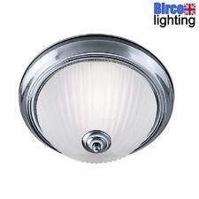 Searchlight 4042 American Diner Chrome Bathroom Round Flush with Acid Rib Glass