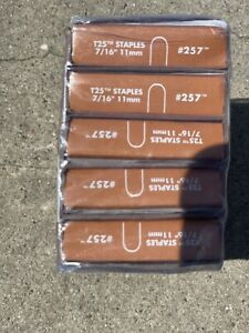 """#257 Arrow T25 Round Crown Staples 7/16"""" 11mm Wire & Cable Fastener Box of 5000"""