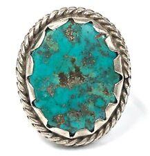 Vintage Handmade Natural Turquoise, Sterling Silver & Base Metal Ring - Size 7